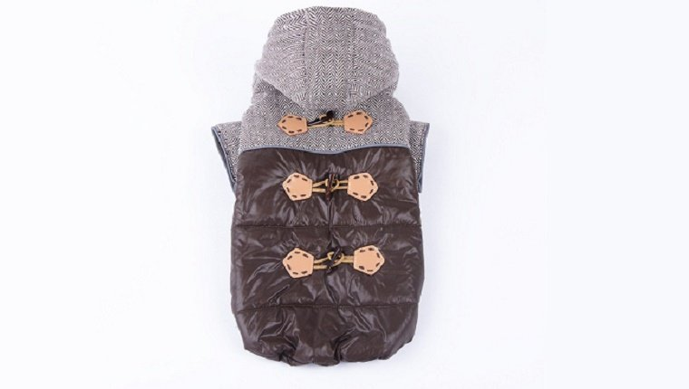 A small, warm jacket with salmon colored buttons and a grey hood.
