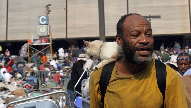 New Orleans, UNITED STATES: Joseph Barnes, 50, and his cat Patches wait to be evacuated from the Superdome in New Orleans 03 September 2005, six days after Hurricane Katrina hit the city. Thousands of soldiers poured into New Orleans 03 September while multitudes fled the city, leaving behind rotting bodies, flooded streets and homes and fears of disease epidemics. AFP PHOTO/Nicholas KAMM (Photo credit should read NICHOLAS KAMM/AFP/Getty Images)