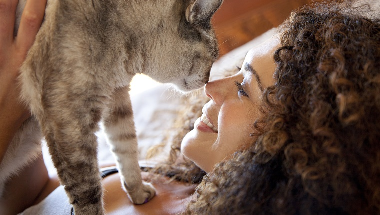 Mixed race woman nuzzling cat on bed
