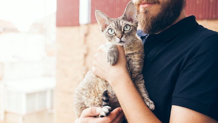 Happy young man standing on a balcony with his cat. Home pets, Lifestyle