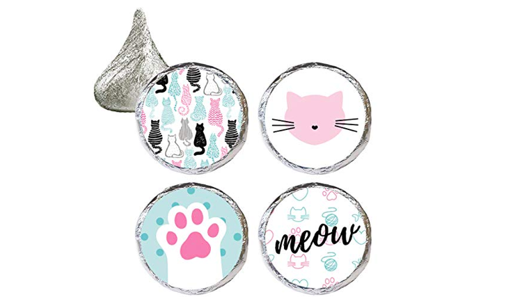 Cat party favor stickers
