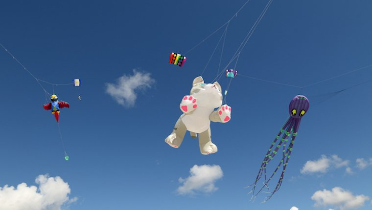Cat kite sailing in the sky