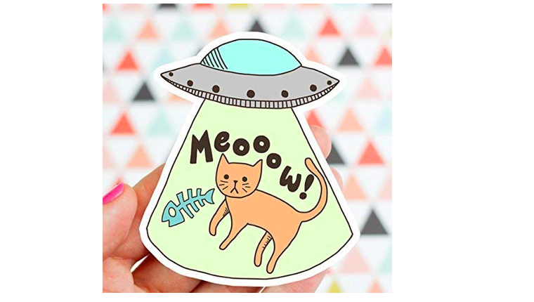 Cat and UFO sticker