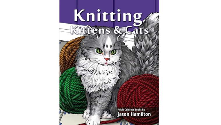 Cat knitting coloring book